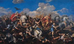 """""""Batalla de Alejandro contra Darío"""" (1644-1650) por Pietro da Cortona. Darío III fue el adversario de Alejandro Magno en la batalla de Gaugamela. Fuente: dominio público"""