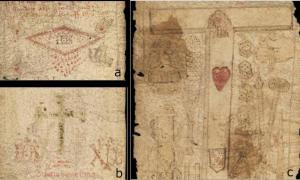 Imágenes de la MS. 632 faja de parto. a) La herida lateral que gotea. b) La cruz o crucifijo verde borrado. c) Cruz Tau con corazón rojo y escudo.