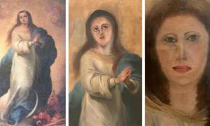 El trabajo original de Murillo (izquierda), la restauración fallida y un intento de arreglarlo. Fuente: Proporcionado por Collector / Europa Press