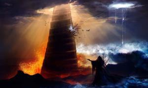 Hechicero en capucha de pie frente a una antigua torre de Babilonia destruida con una ilustración de inundaciones, incendios y huracanes (breakermaximus / Adobe Stock)