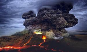 Representación de un volcán en erupción para mostrar cómo podría haberse visto la erupción en Budj Bim. Fuente: SiriusRzn / Adobe stock