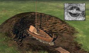 Una representación lateral del montículo gigante que una vez cubrió el barco vikingo enterrado. Hoy, los restos del barco se encuentran debajo de menos de 20 pulgadas de tierra vegetal. (NIKU/LBI ArchPro)