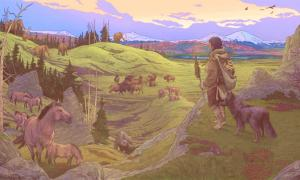 Primeros colonos de América y sus compañeros caninos.