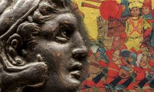 A la izquierda una moneda griega que muestra la cabeza de Casandro. A la derecha, una miniatura griega que representa escenas de la vida de Alejandro Magno.