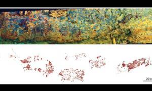 El panorama de la escena de caza de arte rupestre de Indonesia Fuente: Crédito: Adam Brumm, Agus Oktaviana