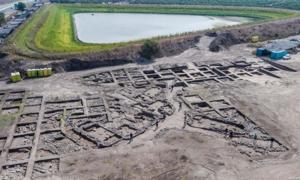 Fotografía aérea del sitio de excavación de la Edad del Bronce Temprano cerca de Harish moderno. (Assaf Peretz, Autoridad de Antigüedades de Israel)