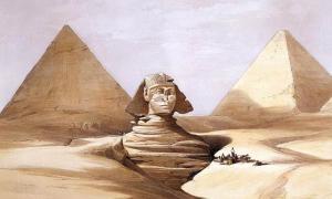 La Gran Esfinge y las Pirámides de Gizeh (Guiza), 17 de julio de 1839, por David Roberts; Pintura del siglo XIX de la Esfinge de Guiza, parcialmente bajo la arena, con dos pirámides al fondo. Fuente: David Roberts / Public Domain