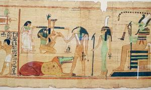 """Una escena de los Libros de los Muertos (basada en el Museo Egipcio) muestra al dios con cabeza de ibis Thoth grabando el resultado del """"juicio final"""". Fuente: Wasef et al. - PLOS ONE / CC BY-SA 4.0."""