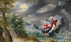 Detalle de 'Dios creando el sol, la luna y las estrellas' por Jan Brueghel el Joven.