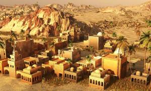 Reconstrucción 3D de una antigua ciudad mesopotámica.