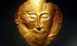 """La """"Máscara de Agamenón"""", Micenas, máscara mortuoria del siglo XVI a.C."""