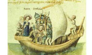 una representación del siglo XV del viaje de Scota desde Egipto. (Wikimedia Commons)