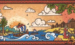 """Una postal rusa que representa el mundo de la """"Antigua Rus"""" que estableció la dinastía Rurik."""