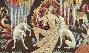 ¿Podría ser que las mujeres a lo largo de la historia hayan sido responsables de la domesticación de perros? En la imagen podemos ver a Diana en un tapiz del siglo XX de Renato Torres