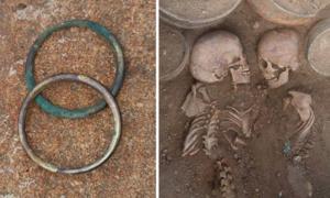 El rico entierro doble contenía los esqueletos de un hombre y una mujer, que podrían haber sido un príncipe y una princesa. Fuente: Noticias Tengri