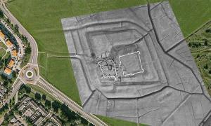 Foto aérea del viejo Harlem que muestra el recién descubierto antiguo castillo holandés Fuente: Saricon / NHNieuws
