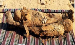 Dos de las momias descubiertas en la tumba egipcia en Asuán. Crédito: Ministerio de Antigüedades.