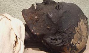 Los investigadores analizaron material de embalsamamiento del cuello de esta antigua momia egipcia para comprender la piel y la momificación egipcias.