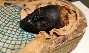 los restos de la momia egipcia irlandesa de Takabuti, una mujer que fue asesinada hace 2.600 años en el antiguo Egipto. Fuente: Ulster Museum, Belfast