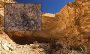 Principal: la cueva donde se descubrió el arte rupestre. Recuadro: Una de las secciones de tallas de roca. Fotografías cortesía del Ministerio de Antigüedades.