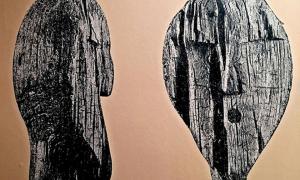 Dos perfiles de la cara superior del ídolo Shigir, la estatua más antigua del mundo.