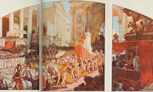 Elagabalus conduciendo un carro tirado por dieciséis caballos blancos.