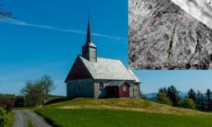 El entierro del barco vikingo (inserto) (Manuel Gabler / NIKU) fue encontrado por la antigua iglesia de Edøy en Noruega. (Henny stokseth / CC BY SA 3.0)