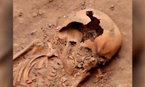 Un cráneo tatuado en uno de los entierros de Moche recién desenterrados. Fuente: : CEN/Proyecto Especial Naylamp Lambayeque