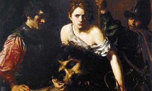 """David con la cabeza de Goliat"", circa 1615–16 por Valentin de Boulogne (francés, Coulommiers-en-Brie 1591–1632 Roma) Museo Thyssen-Bornemisza, Madrid. Fuente: dominio público"