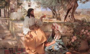 """Detalle de """"Cristo en la casa de Marta y María"""" (1886) de Henryk Siemiradzki. Abundan las preguntas sobre el Evangelio de la esposa de Jesús y la relación entre María y Jesús."""