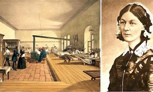 Izquierda: Florence Nightingale inspecciona una sala de hospital durante la Guerra de Crimea. (Wellcome Images / CC BY 4.0). Derecha: Retrato de Florence Nightingale de Carte de Visite. (H. Lenthall / Dominio público)