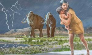 Después de un análisis más detallado de las huellas fosilizadas, los arqueólogos han ajustado la narrativa de la historia que cuentan. Durante el final de la última glaciación, una mujer con un niño camina apresuradamente por las orillas del antiguo lago Otero, dejando huellas en el barro.