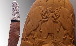 El cuchillo Gebel el-Arak (Rama / CC BY SA 3.0) y detalle de un lado del mango de marfil. (Rama / CC BY SA 3.0)