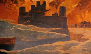 Una escena de la última fase de Ragnarök, después de que Surtr ha envuelto al mundo con re (por Emil Doepler, 1905) (Dominio público)