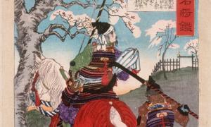 Hachiman Tarō Yoshiie en Nakoso Barrier por Tsukioka Yoshitoshi (Japón, 1839-1892).