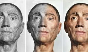 Etapas de la restauración de la máscara mortuoria del rey Enrique VII. (Cortesía de Matt Loughrey / My Colorful Past)