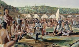 Acuarela, Jacques Cartier visitando Hochelaga, octubre de 1535. Fuente: (Dominio público)