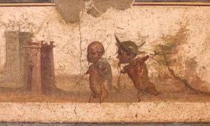 Fresco romano de un friso que muestra una subespecie humana: pigmeos de Stabiae, Villa di Arianna, ahora en el Museo Arqueológico Nacional de Nápoles.