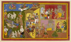 Portada-Escena del Yuddha Kanda, uno de los libros del Ramayana. Arriba a la izquierda se ve a la raksashi Trijata (con un sari rojo) en el Pushpaka Vimana, señalando el campo de batalla. Junto a ella está Sita, esposa de Rama. Arriba a la derecha aparece de nuevo el mismo personaje en el Vimana. Manuscrito del Ramayana de Udaipur (India, 1652) (Public Domain)
