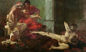 Locusta, infame asesina en serie, probando veneno en un esclavo en presencia de Nero, como lo muestra esta pintura de Joseph-Noël Sylvestre. Fuente: dominio público