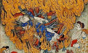 Detalle de la ilustración del siglo XVII de una mujer que comete un suttee: autoinmolación en la pira funeraria de su marido. (Dominio publico)