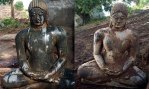 la escultura Jain antigua fue descubierta inesperadamente por un granjero que araba su campo en Telangana. Fuente: The News Minute