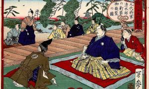 El noveno shogun japonés Tokugawa visitando una casa recién construida en Edo. Fuente: Kobayashi Toshimitsu / Dominio público