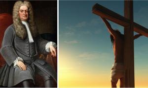 Hay mucho debate entre los estudiosos sobre la fecha de crucifixión de Jesús, pero no hay un consenso real. ¿Hay alguna forma de que sepamos la verdad? Izquierda: retrato de Sir Isaac Newton. (Dominio publico). Derecha: representación de la crucifixión de Jesús. (Kovalenko I / Adobe stock)