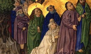 Representación de la historia milagrosa de Jesús sobre la curación de una mujer sangrante, contenida en la Biblia de Ottheinrich.