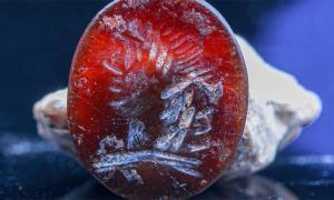 El anillo de sello judío fue encontrado durante las excavaciones en los cimientos del Muro Occidental en Jerusalén.