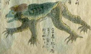 El extraño y a menudo peligroso demonio del agua de la leyenda japonesa, el Kappa. Dibujo, 1836. Dominio público