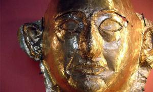 Espectacular máscara funeraria dorada de Khaemweset