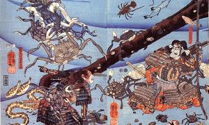 'El fantasma de Taira Tomomori' de Utagawa Kuniyoshi: representa al fantasma de Taira Tomomori junto con el ancla con la que se ahogó, y heikegani con rostros de soldados caídos. Fuente de la imagen