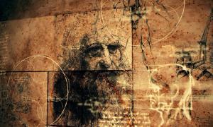 Retrato de Leonardo da Vinci y bocetos anatómicos. Fuente: klss777 / Adobe Stock